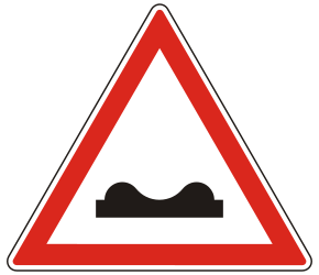 Traffic sign of Hungary: Warning for a bad road surface