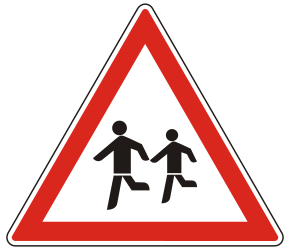 Traffic sign of Hungary: Warning for children