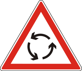 Traffic sign of Hungary: Warning for a roundabout