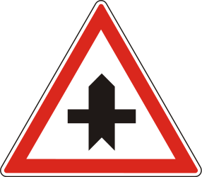 Traffic sign of Hungary: Warning for a crossroad side roads on the left and right