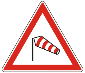 Traffic sign of Hungary: Warning for heavy crosswind