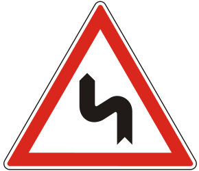 Traffic sign of Hungary: Warning for a double curve, first left then right