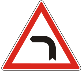 Traffic sign of Hungary: Warning for a curve to the left