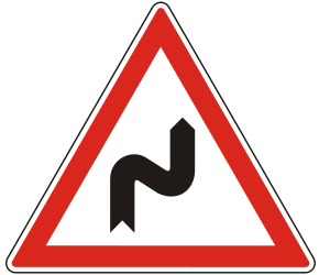 Traffic sign of Hungary: Warning for a double curve, first right then left