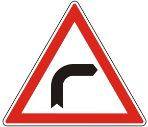 Traffic sign of Hungary: Warning for a curve to the right