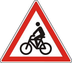 Traffic sign of Hungary: Warning for cyclists