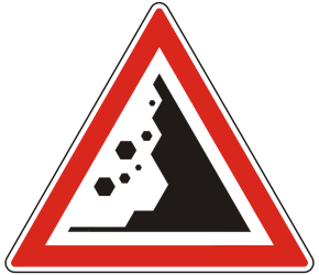 Traffic sign of Hungary: Warning for falling rocks