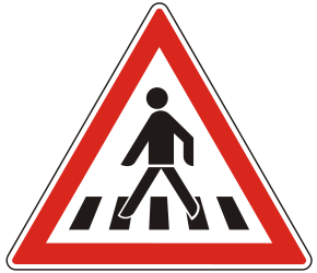 Traffic sign of Hungary: Warning for a crossing for pedestrians