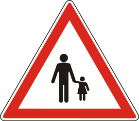 Traffic sign of Hungary: Warning for pedestrians