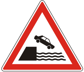 Traffic sign of Hungary: Warning for a quayside or riverbank