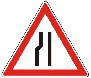 Traffic sign of Hungary: Warning for a road narrowing on the left