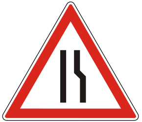 Traffic sign of Hungary: Warning for a road narrowing on the right