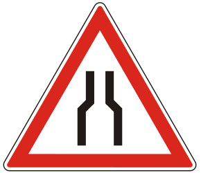 Traffic sign of Hungary: Warning for a road narrowing