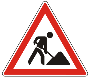 Traffic sign of Hungary: Warning for roadworks