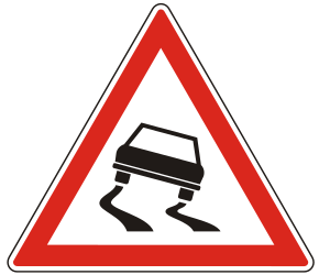 Traffic sign of Hungary: Warning for a slippery road surface