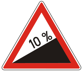 Traffic sign of Hungary: Warning for a steep ascent