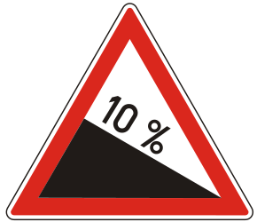 Traffic sign of Hungary: Warning for a steep descent