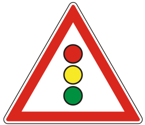 Traffic sign of Hungary: Warning for a traffic light