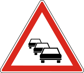 Traffic sign of Hungary: Warning for traffic jams