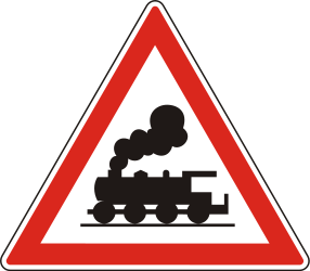 Traffic sign of Hungary: Warning for a railroad crossing without barriers