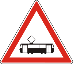 Traffic sign of Hungary: Warning for trams