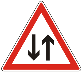 Traffic sign of Hungary: Warning for a road with two-way traffic