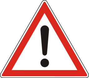 Traffic sign of Hungary: Warning for a danger with no specific traffic sign