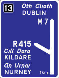 Traffic sign of Ireland: Information about the destination of the ramp