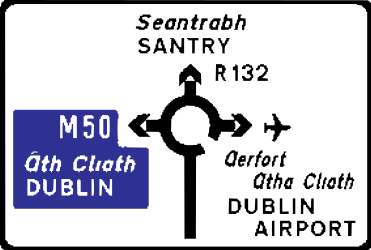 Traffic sign of Ireland: Information about the directions of the roundabout