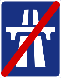 Traffic sign of Ireland: End of the motorway