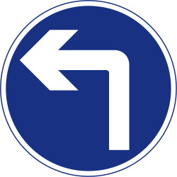 Traffic sign of Ireland: Turning left mandatory