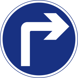 Traffic sign of Ireland: Turning right mandatory