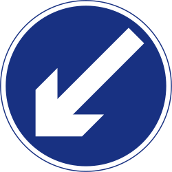 Traffic sign of Ireland: Passing left mandatory