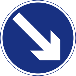 Traffic sign of Ireland: Passing right mandatory