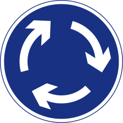 Traffic sign of Ireland: Mandatory direction of the roundabout