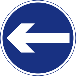 Traffic sign of Ireland: Mandatory left