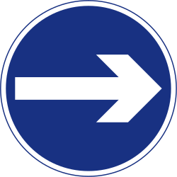 Traffic sign of Ireland: Mandatory right