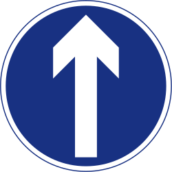 Traffic sign of Ireland: Driving straight ahead mandatory