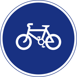 Traffic sign of Ireland: Mandatory path for cyclists