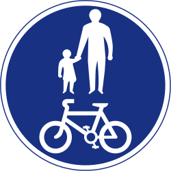 Traffic sign of Ireland: Mandatory shared path for pedestrians and cyclists