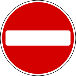 Traffic sign of Ireland: Entry prohibited (road with one-way traffic)