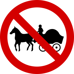 Traffic sign of Ireland: Horse carts prohibited