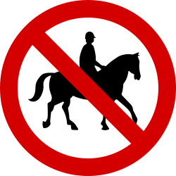 Traffic sign of Ireland: Equestrians prohibited