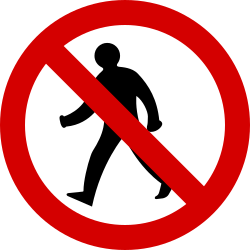 Traffic sign of Ireland: Pedestrians prohibited
