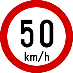 Traffic sign of Ireland: Driving faster than indicated prohibited (speed limit)