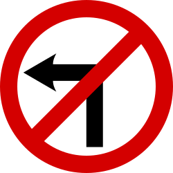 Traffic sign of Ireland: Turning left prohibited