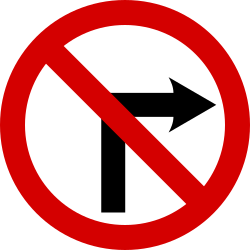 Traffic sign of Ireland: Turning right prohibited