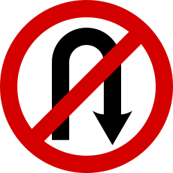 Traffic sign of Ireland: Turning around prohibited (U-turn)