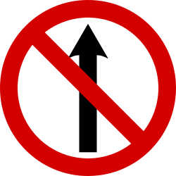 Traffic sign of Ireland: Driving straight ahead prohibited