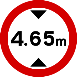 Traffic sign of Ireland: Vehicles higher than indicated prohibited